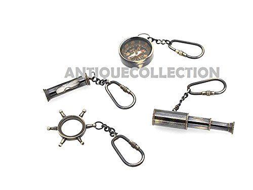 NauticalMart Nautical Sand Timer Key Chain Hourglass Set of 100