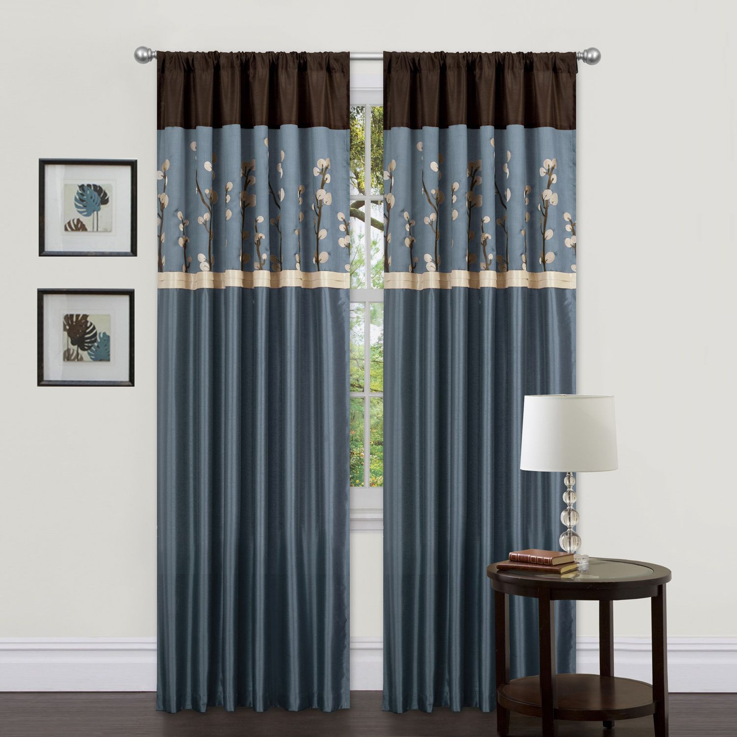 Lush decor blue brown inch cocoa blossom curtain panels set of