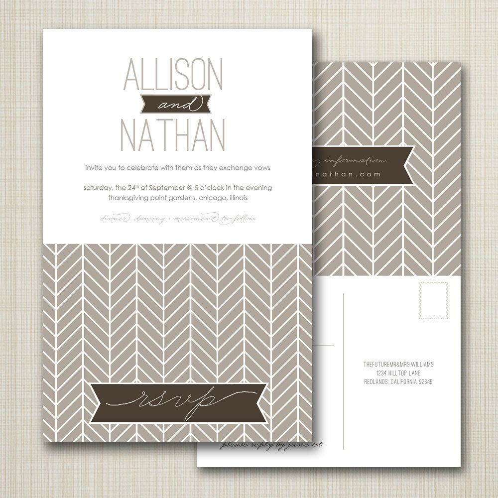 wedding invitation with perforated rsvp postcard - herringbone ...