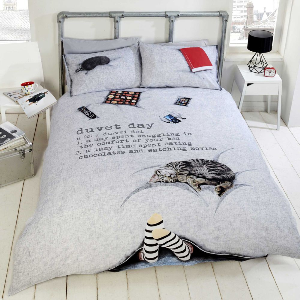Blue white bedding bed linen floral amp stripe reversible duvet cover - Details About Duvet Day Cosy Cat Chocolate Quilt Duvet Cover Bedding Set Single Double King