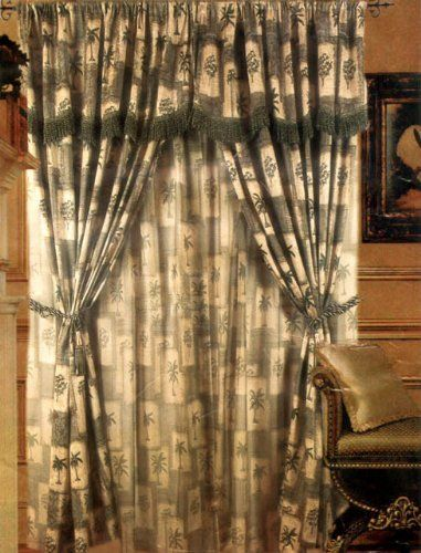 3 Layer Modern Palm Tree Beige Sage Green Tropical Curtain Set With Attached Valances And Sheer Backing 120 W Tree Curtains Tropical Curtains Quality Bedding