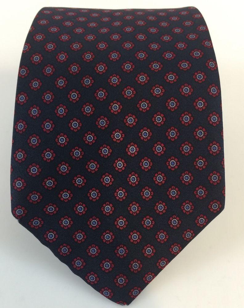 STAFFORD 100% SILK MENS TIE Blue Red Silk Floral Design Dress Necktie Made Italy #Stafford #NeckTie