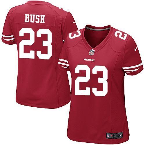 debc1b383 Nike 49ers  23 Reggie Bush Red Team Color Women s Stitched NFL Elite Jersey  And  NFL Jerseys SALES 2017