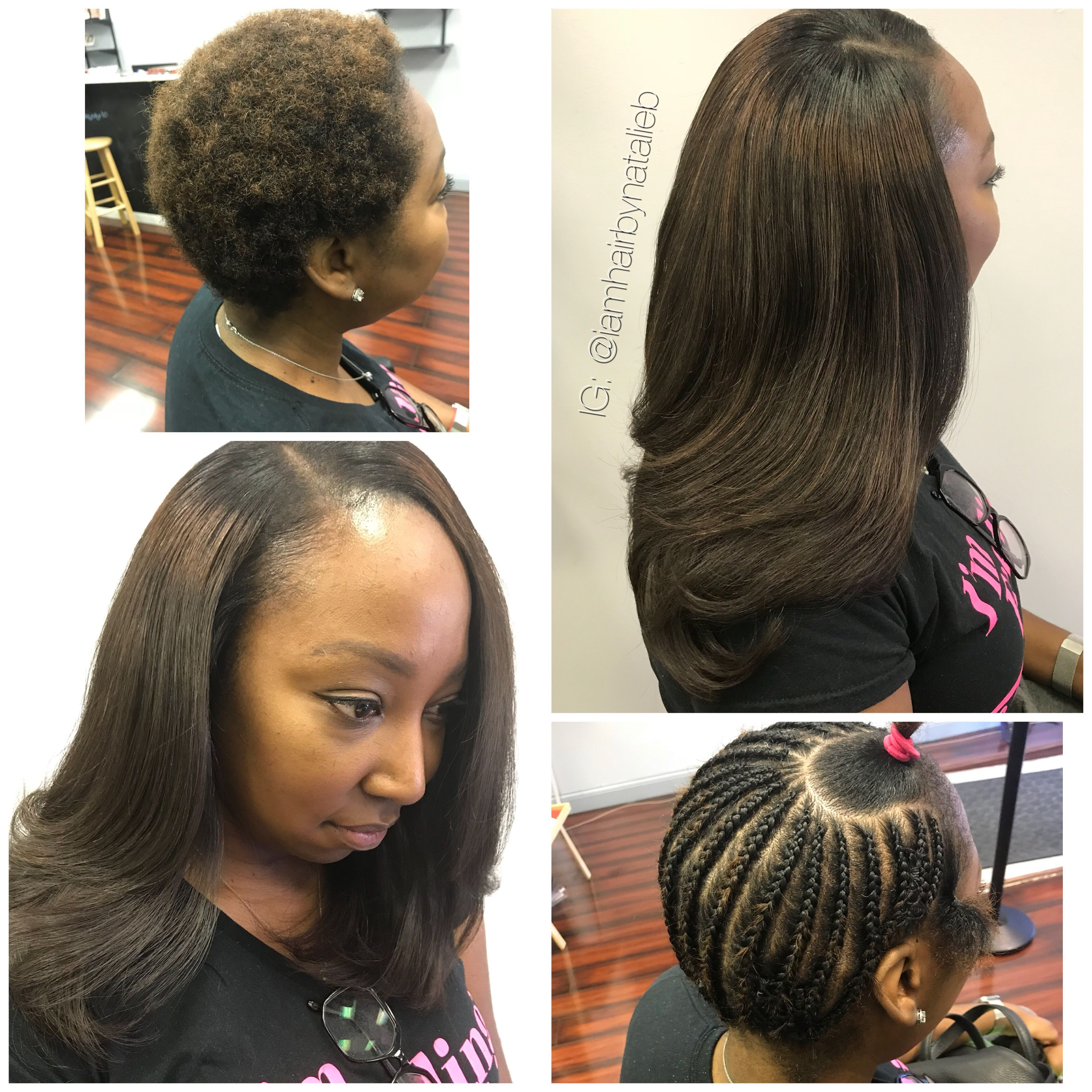 traditional sew-in hair weave with leave-out. this client