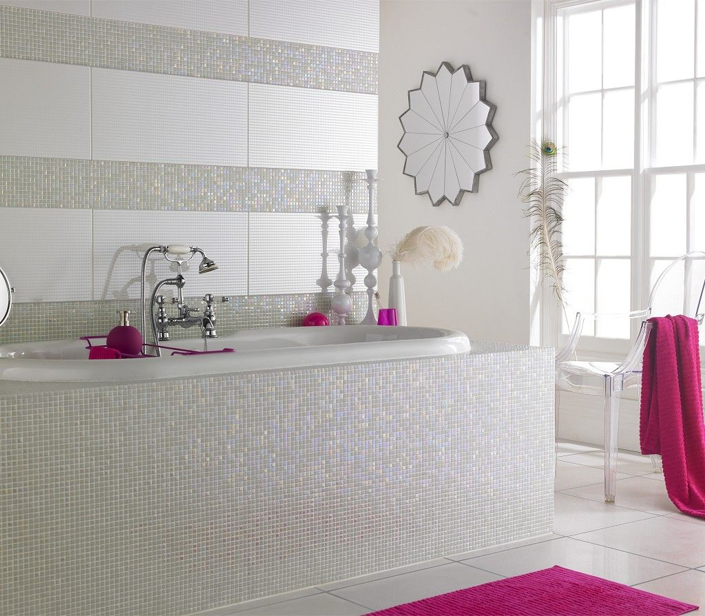White and Pink Bathroom Magic Mosaic | Topps Tiles | Decorating ...