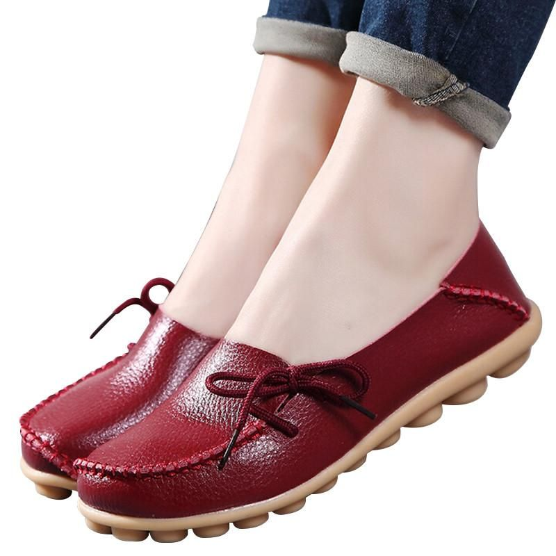 0459fd9a0d0d Large size leather Women shoes flats mother shoes girls lace-up fashion  casual shoes comfortable breathable women flats SDC179  fashion  cool   streetstyle ...