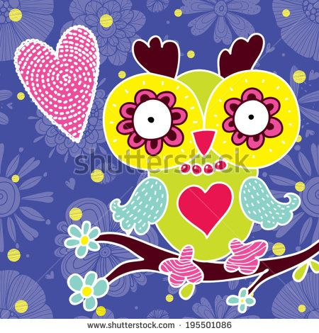 Colorful postcard with owl - stock vector