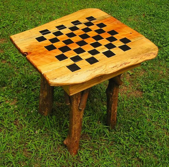 Rustic Handmade Checker Chess Game Table Log Cabin Furniture By J. Wade  Free Shipping On