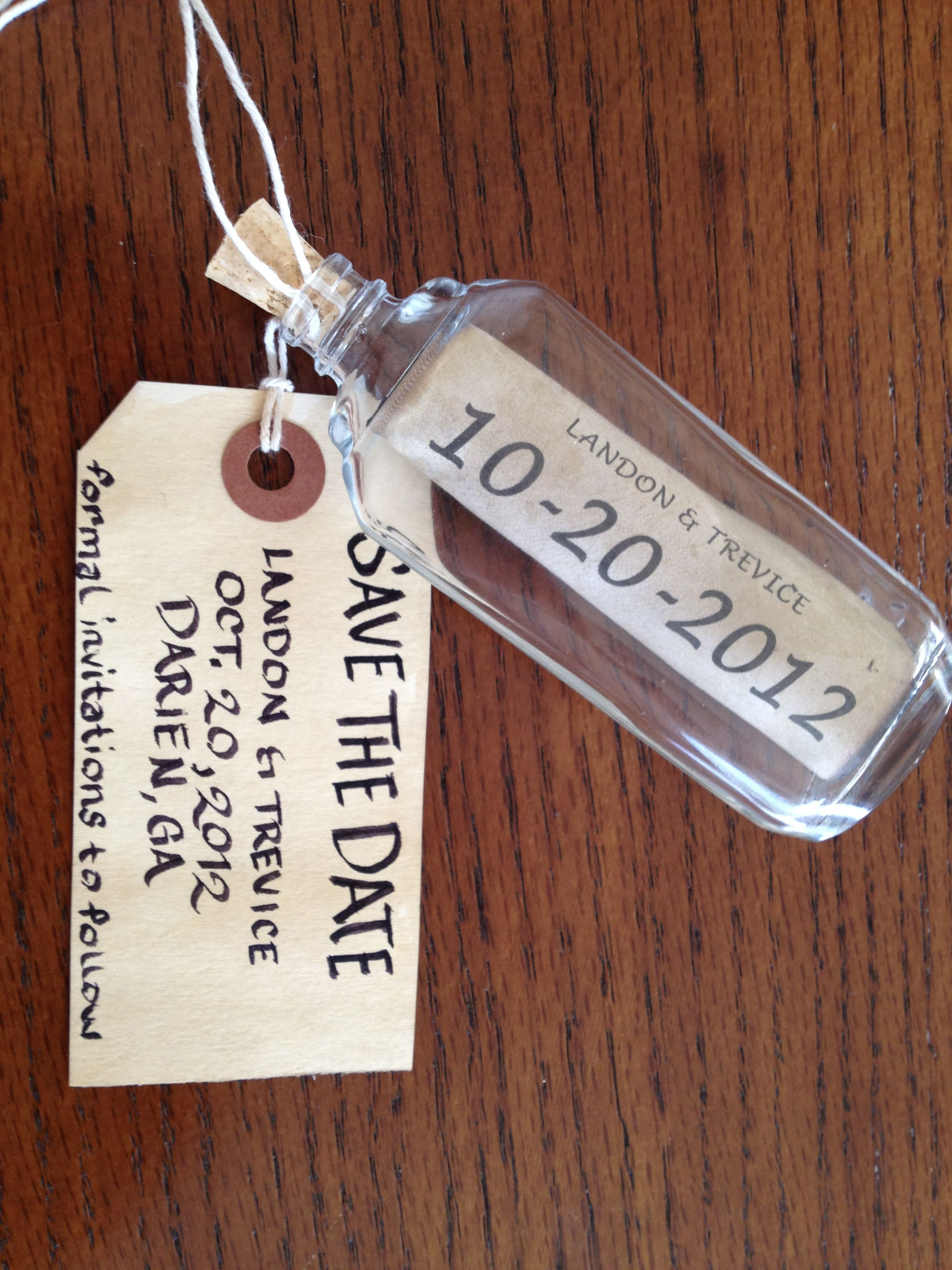 DIY Save The Date Message In A Bottle