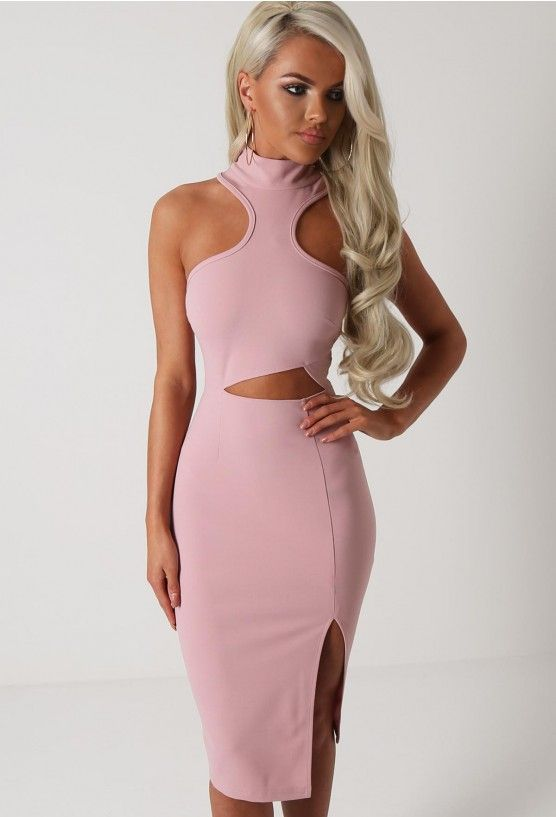 Tatiana Pink Cut Out Racer Neck Midi Dress | Pink Boutique ...
