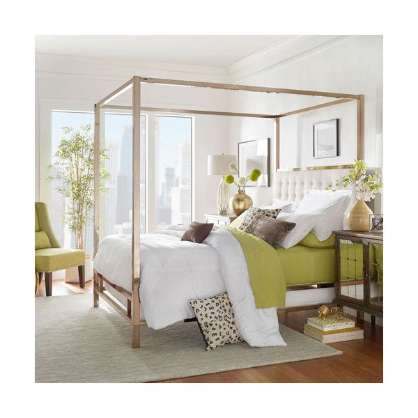 HomeHills Adora White Glam Champagne Brass Canopy Bed ($1,087) ❤ liked on  Polyvore featuring home, furniture, beds, white canopy bed frame, brass h…