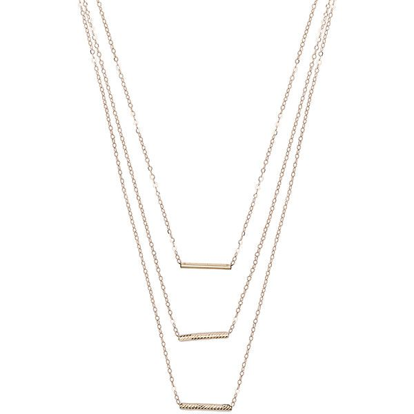 ERTH 14K Gold 3 Bar Necklace (393.915 CLP) ❤ liked on Polyvore featuring jewelry, necklaces, accessories, colar, fine jewelry, gold fine jewelry, layered bar necklace, multi layer necklace, 14k yellow gold necklace and 14k bar necklace