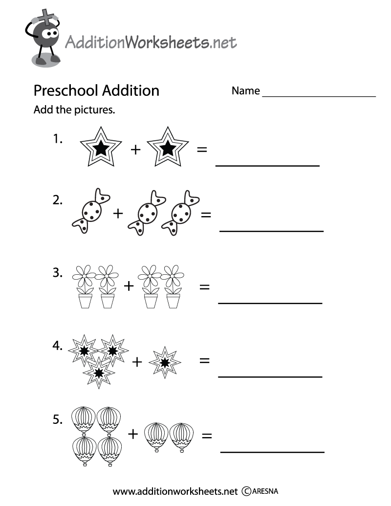Preschool Picture Addition Worksheet Printable | Free Addition ...