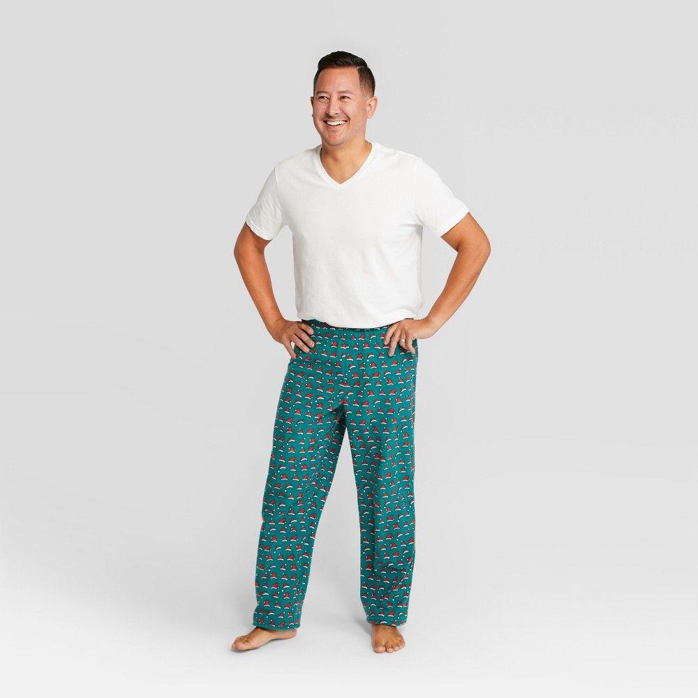 d19d80bd2ff85 Men s Holiday Santa Hat Pajama Pants - Wondershop Green S