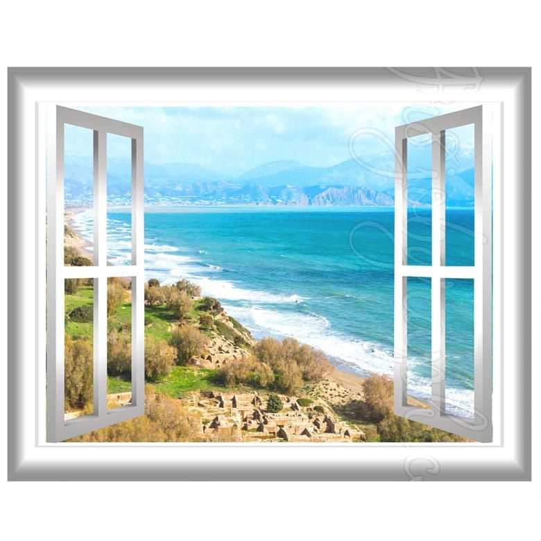 Beach landscape view 3d wall mural sticker window frame for Beach window mural