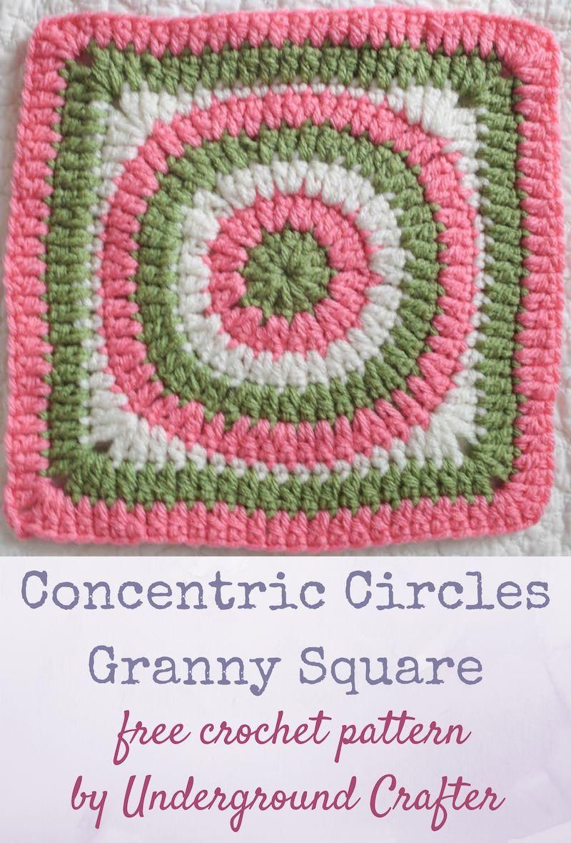 Crochet Pattern Concentric Circles Granny Square Granny