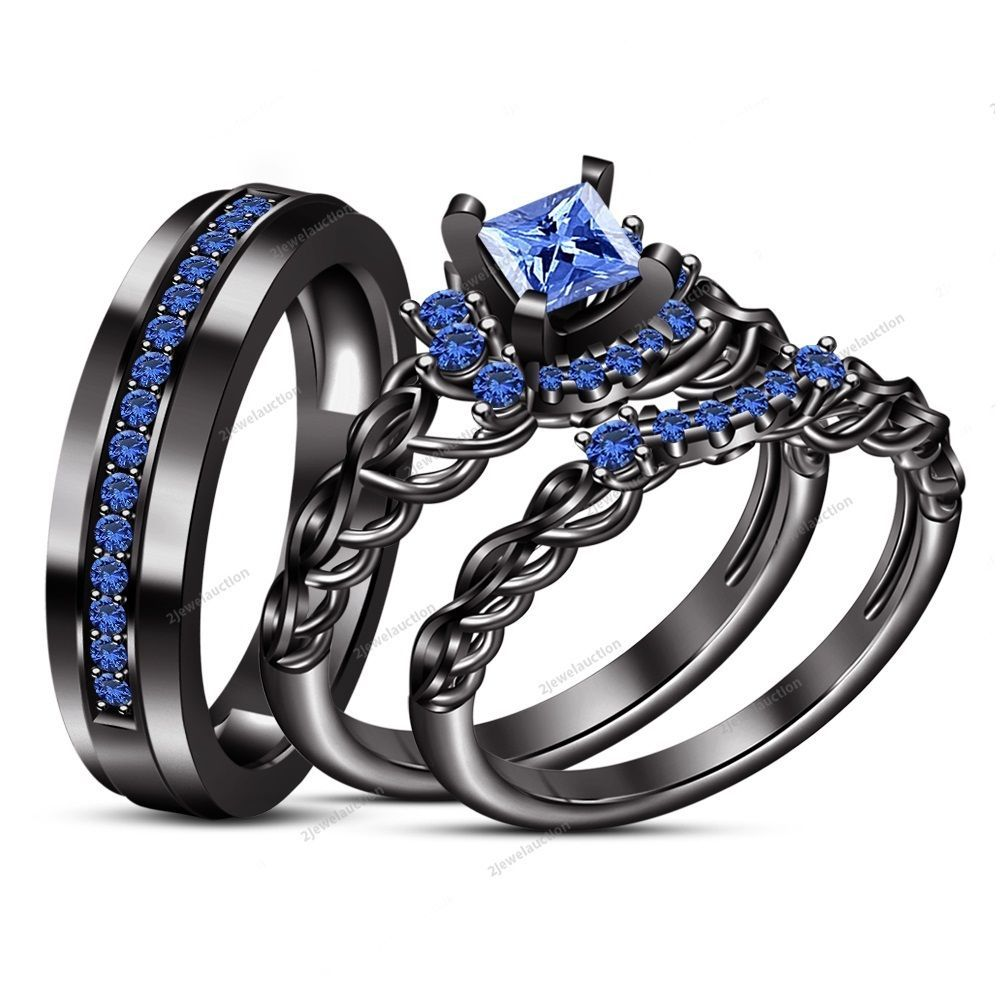 14k black gold fn his and her blue sapphire trio wedding bridal