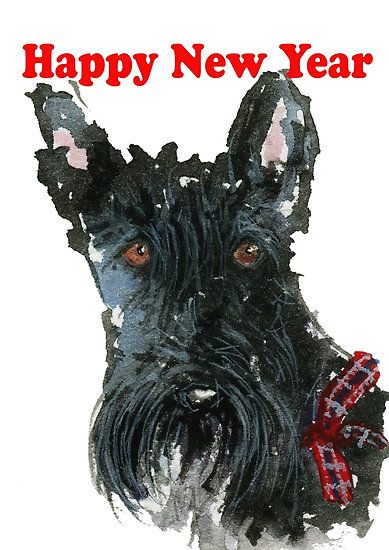 Scottie Dog Happy New Year By Archyscottie Happy New Year Dog Scottie Dog Scottie
