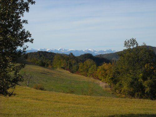 Da un'altura di Langa la prima neve sulle Alpi Marittime