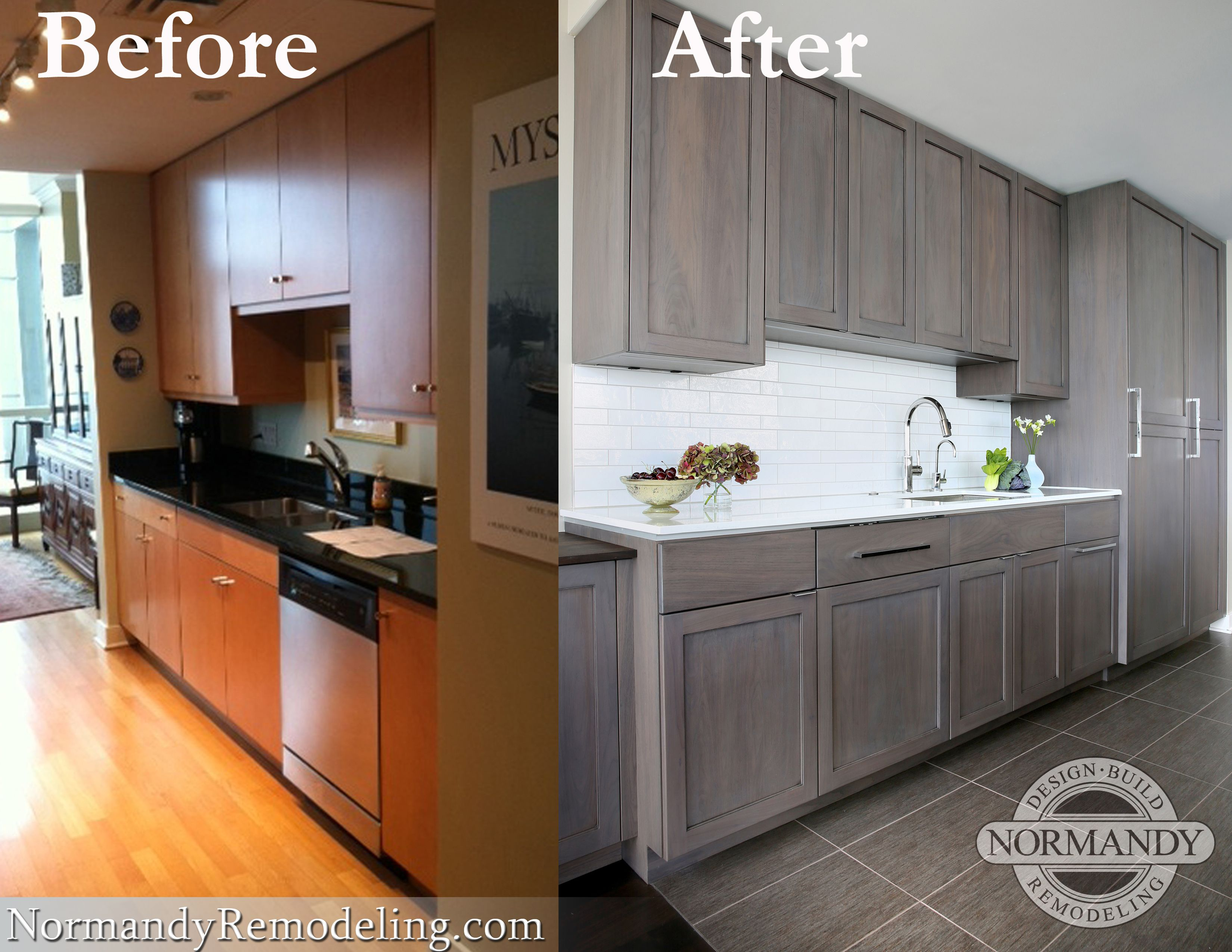 Before and after transformation of this modern kitchen ...