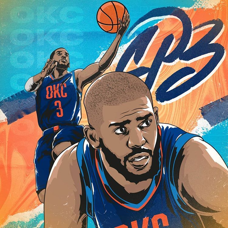 Von Reox Nba On Instagram Chris Paul Traded To Okc How Long He Ll Stay With The Thunder 3 Days Or The Rest O Chris Paul Nba Art Basketball Artwork