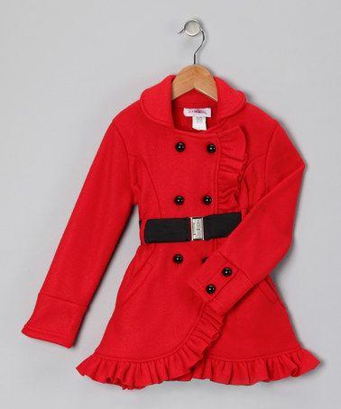 Citlali's Choice Red Ruffle Fleece Coat - Toddler & Girls ...