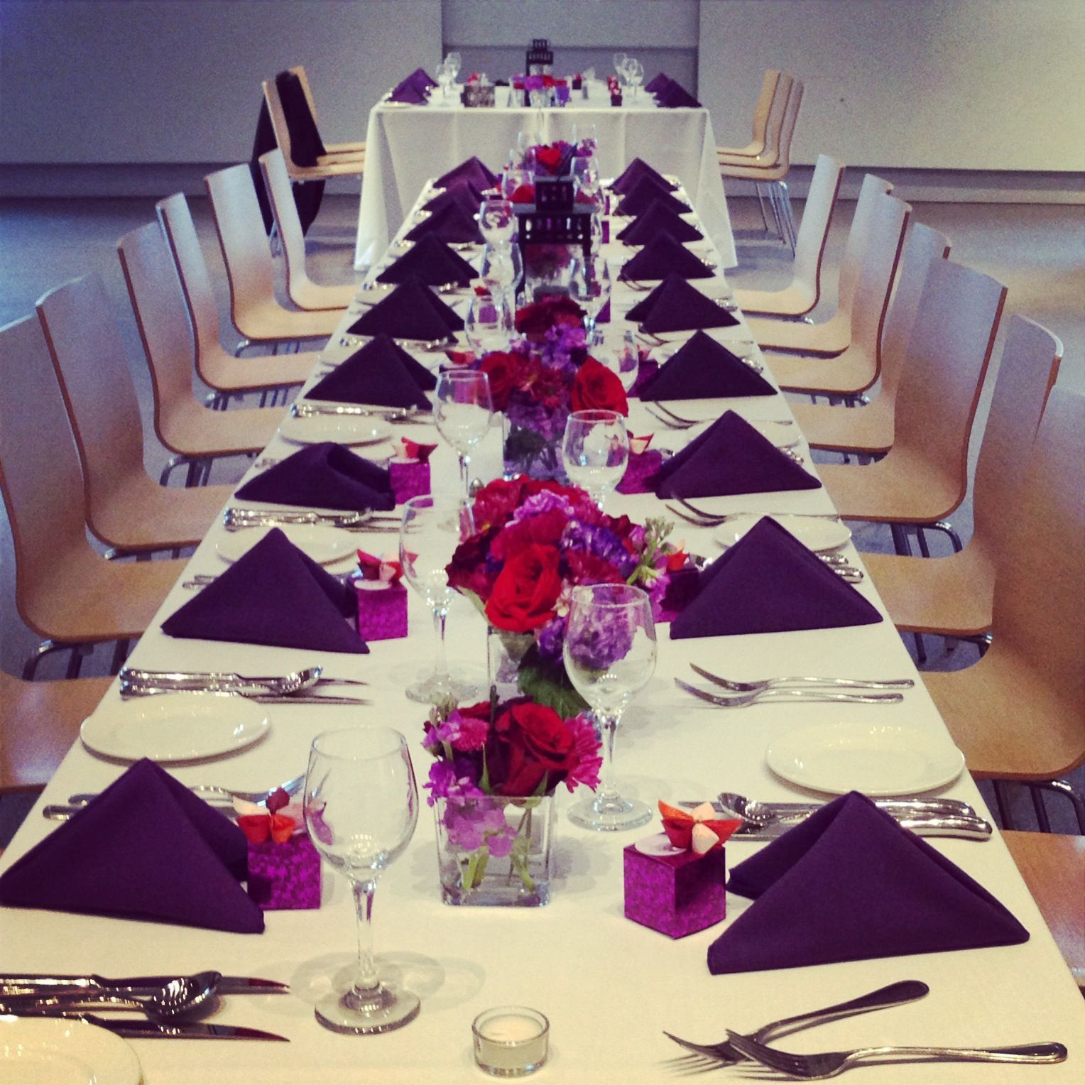 Purple And Red Wedding Ideas: Red And Purple Centrepieces Long Table