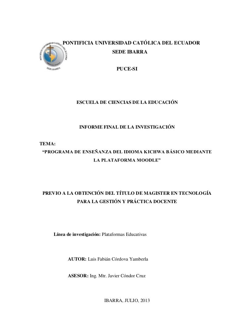 Tesis e learning kichwa - Castellano by Luis Cordova via slideshare
