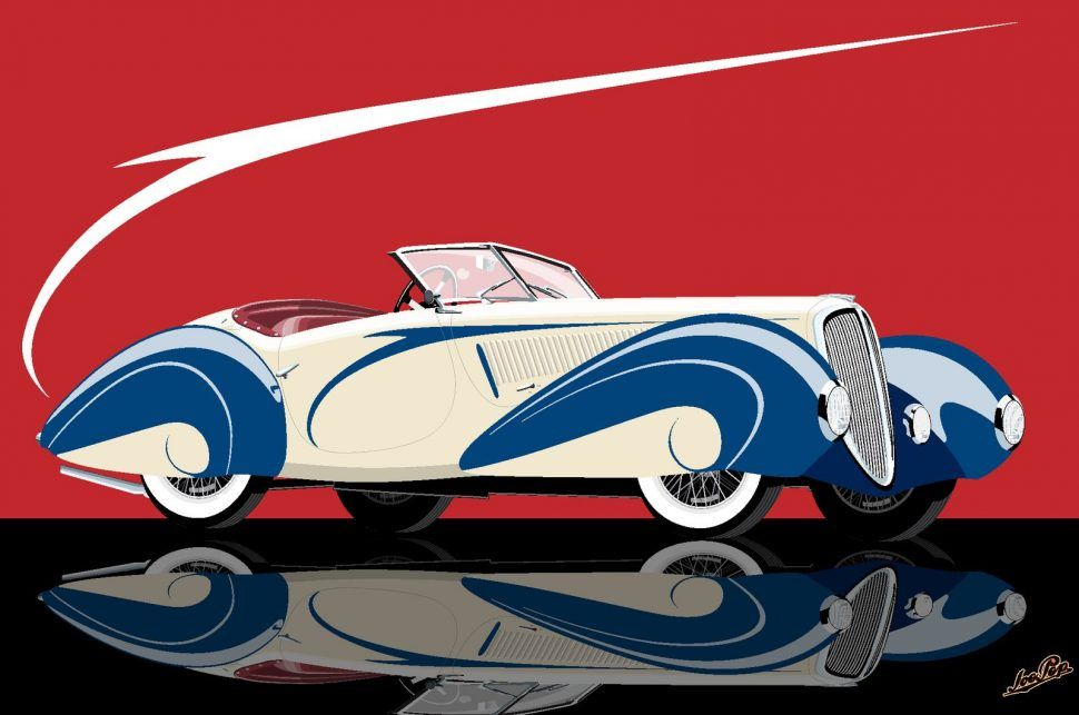 "1937 Delahaye Roadster,"" by JoepeP | Old Rides 5 | Pinterest | Cars"