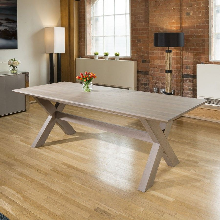Massive 240x95 Grey Oak Rectangular Dining Table Grey Top Legs