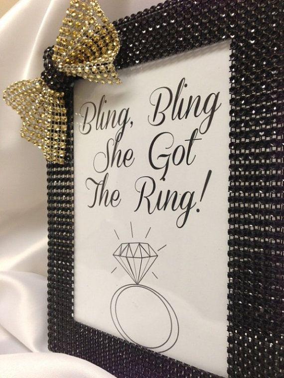 bridal shower bling bling she got the ring frame any color on etsy 775