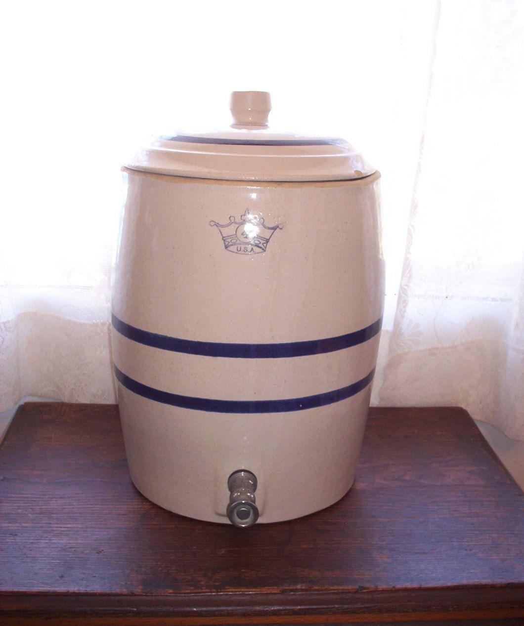 Vintage Stoneware Water Jug 4 Crown Usa Blue Stripe Water Cooler Crock Water Jug Stoneware Crock