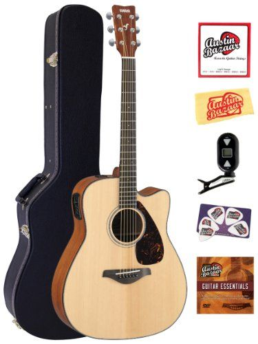 Yamaha Fgx700sc Solid Top Cutaway Acoustic Electric Guitar Bundle With Hardshell Case Tuner Instructional Dvd Stri Yamaha Guitar Guitar Best Acoustic Guitar