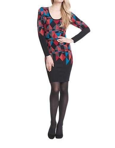 Plenty By Tracy Reese Geometric Knit Sweater Dress Women's Geo Kaleidi