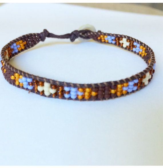 Tribal Aztec Wrapped Beaded Bracelet Arm Candy Native Inspired size 7-7 1/2 inch Wrist Periwinkle Brown Cream Autumn on Brown Cording