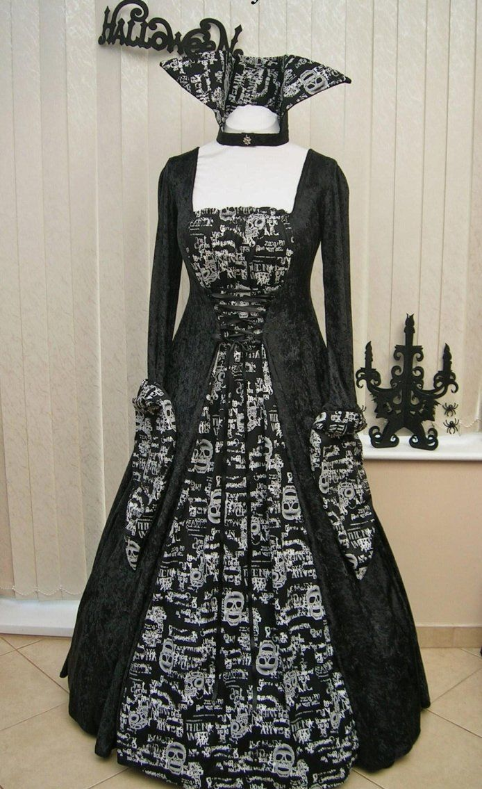 Halloween Bride Of Dracula Skull Ball Gown Black And White