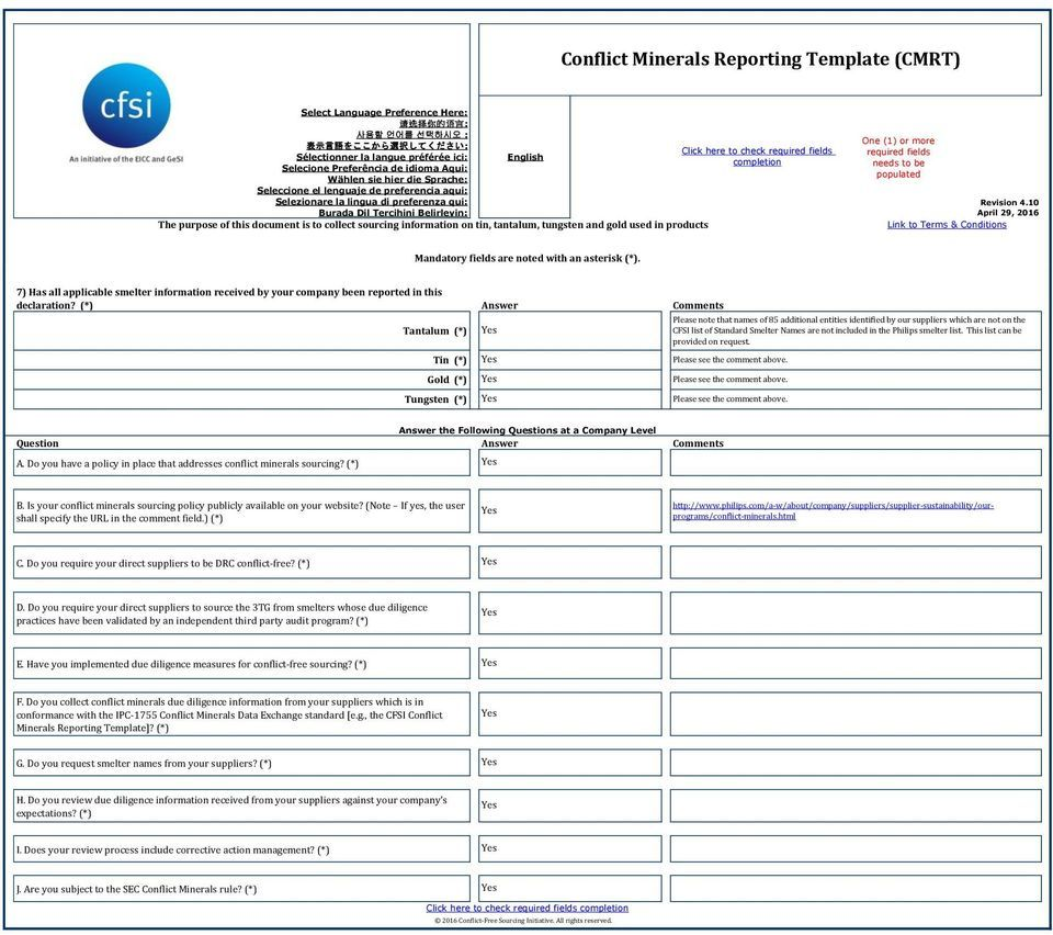 Conflict Minerals Reporting Template Cmrt Pdf Free Download