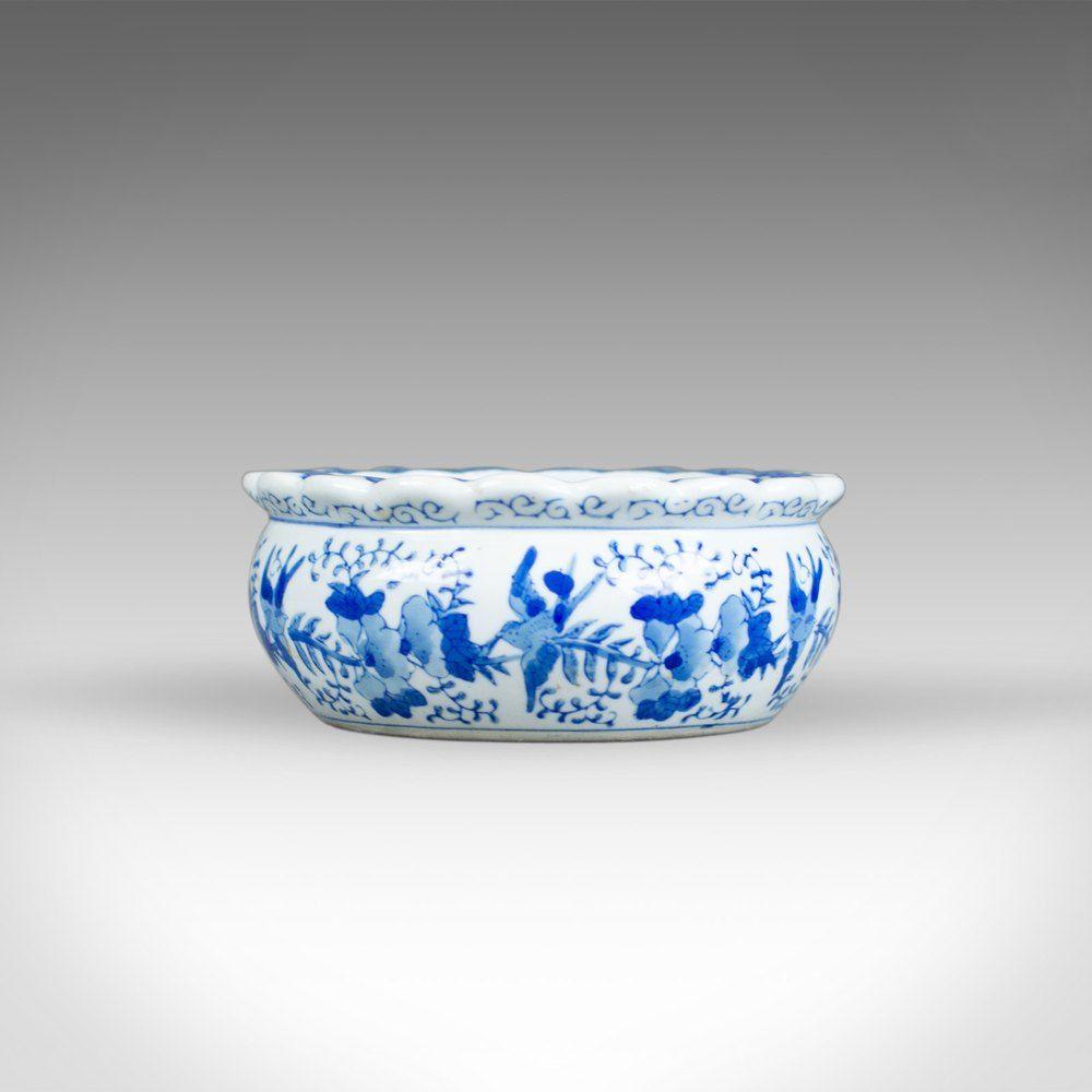 Antique Ceramic Jardiniere Plant Stand Bowl Blueand White Antiques Blue White Ceramics