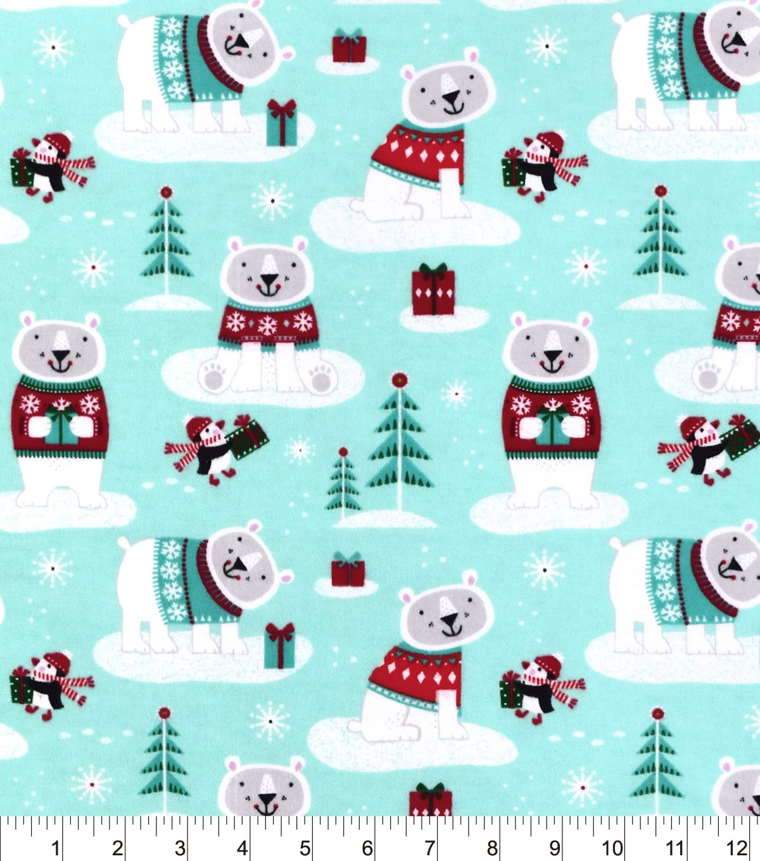 Snuggle Flannel Fabric Winter Polar Bear Flannel fabric