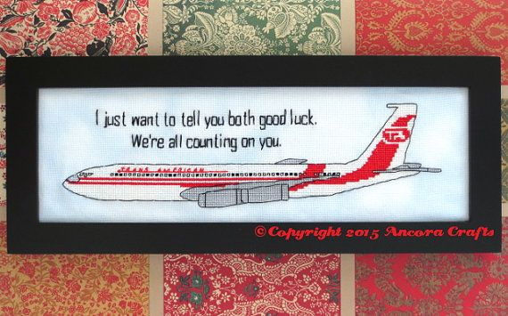 Airplane Movie Cross Stitch We Re All Counting On Etsy Cross Stitch Patterns Cross Stitch Stitch Patterns