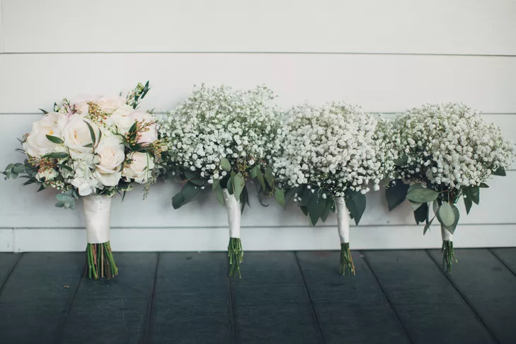 Romantic Blush And Baby S Breath Southern Bouquets In 2020 Wedding Flowers Greenery Babys Breath Bouquet Bridesmaids Bridesmaid Bouquet