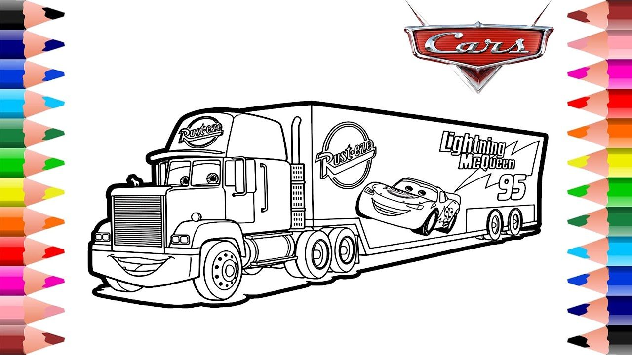 Disney Pixar Cars Mack Truck Coloring Pages Coloring Pages For Kids Coloring For Kids Truck Coloring Pages Coloring Pages For Kids