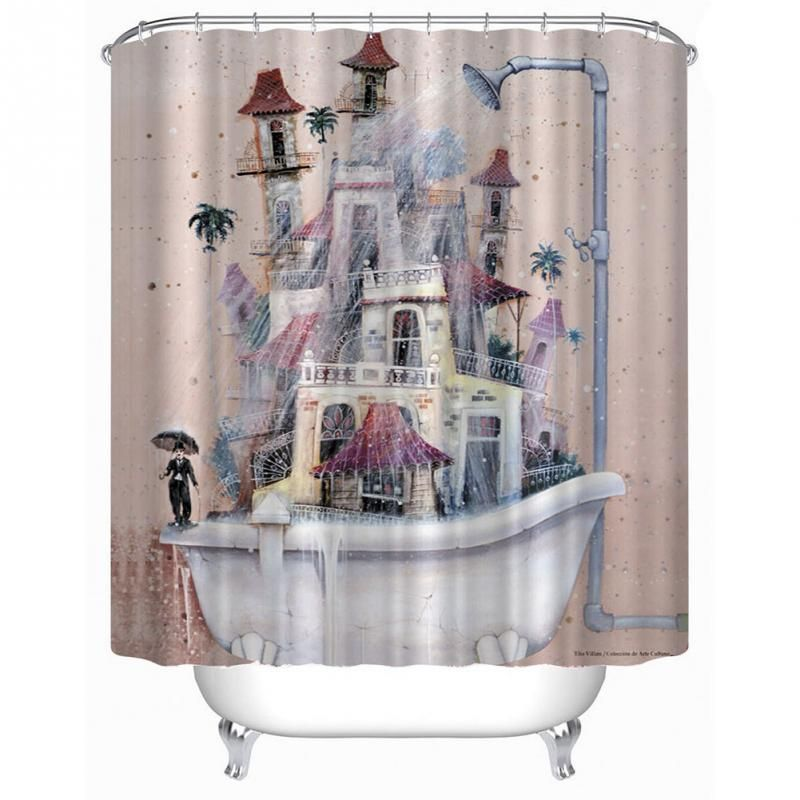 Cartoon Home Decor Shower Curtain House Tub Design Bathroom Waterproof Polyester Bathroom Curtain With 12 Hooks #Affiliate