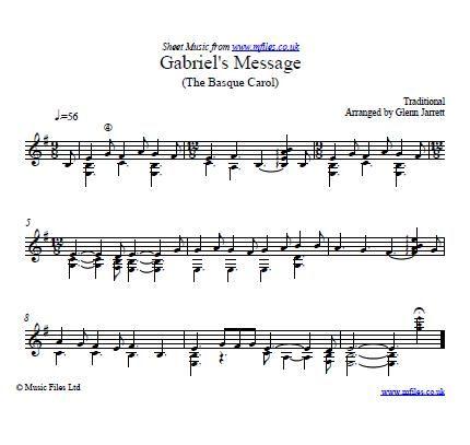 Gabriel's Message (arranged for Guitar by Glenn Jarrett) - download