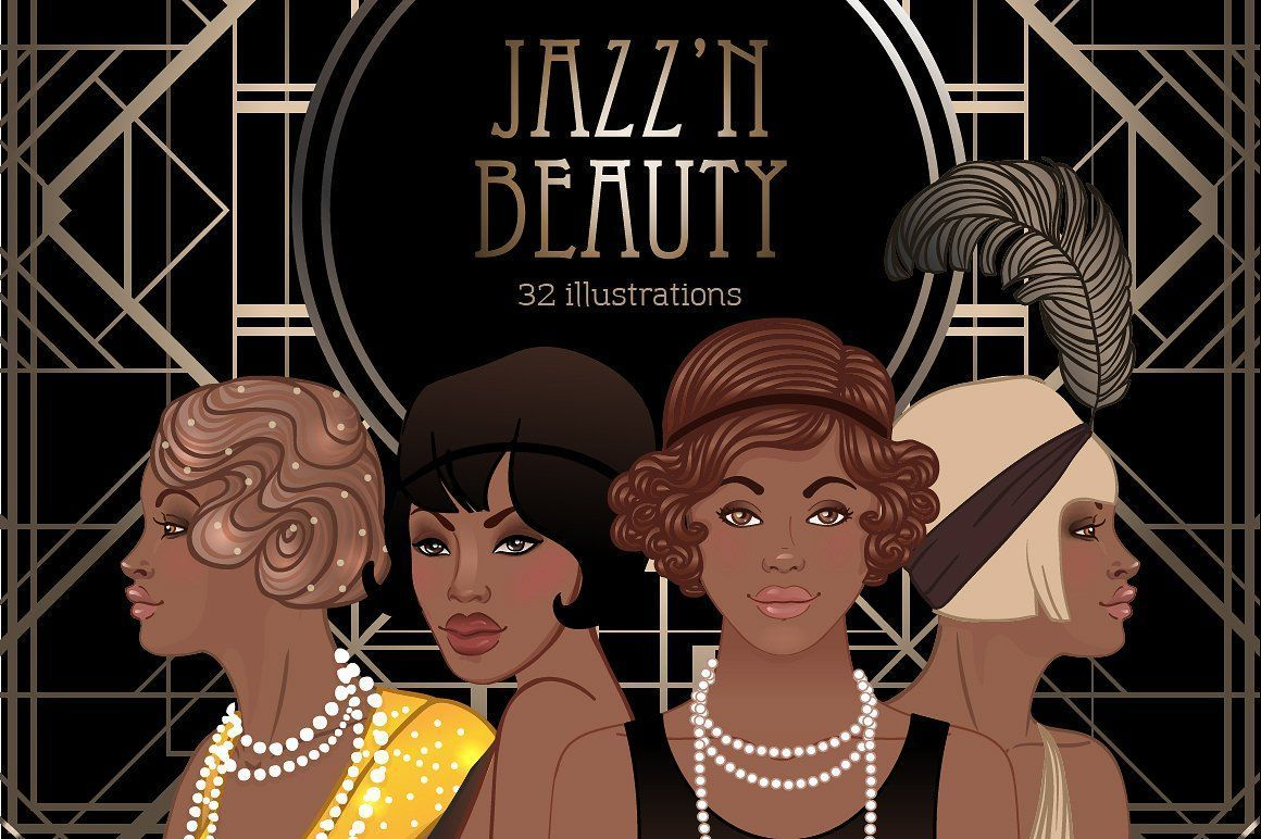 Jazz'N Beauty Vector Set 1920s 1930s 20s african american