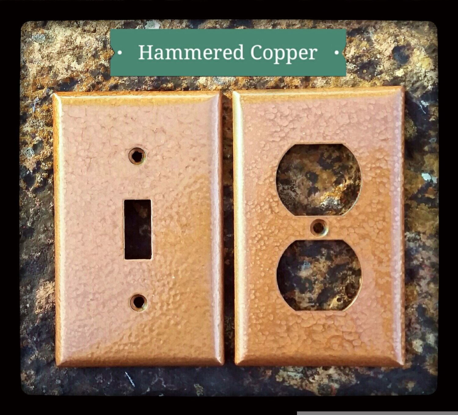 Rustic Switch Plate Covers Hammered Copper Wall Plates Switchoutlet Covers  Antique