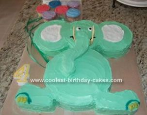 Cute Homemade Green Elephant Cake Elephant cakes Custom cake and