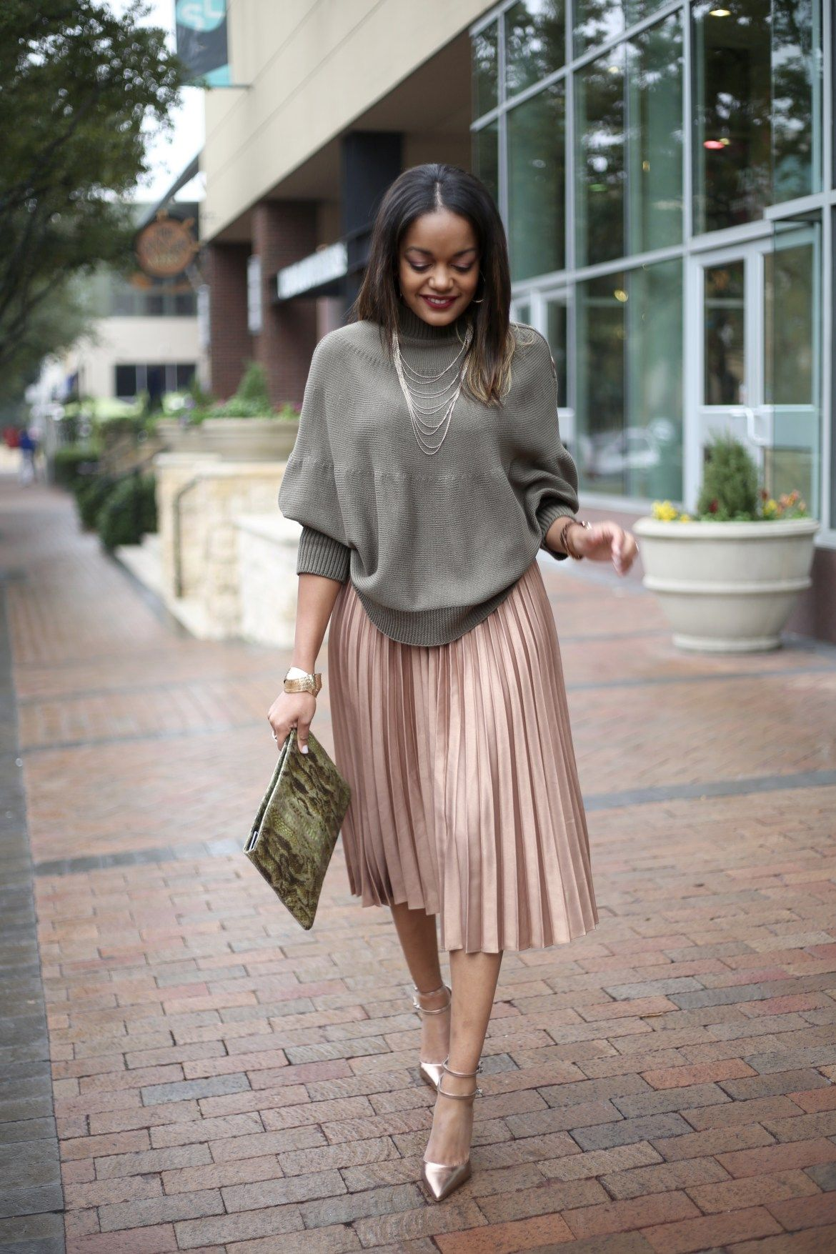 80be7f299e3d pleated skirt, asos gold pleated midi skirt, asos cape sweater, how to wear  a pleated midi skirt, dallas blogger, black fashion blogger