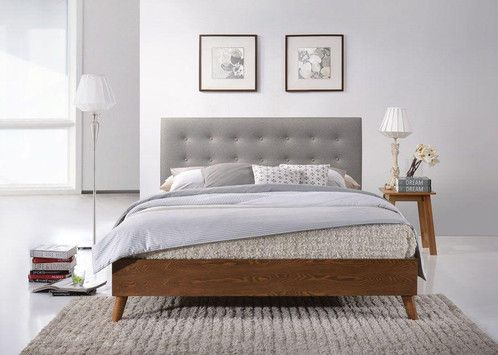 Chic Bed With Fabric Headboard Modern Wooden Upholstered 4ft6 5ft Oak Walnut Fta
