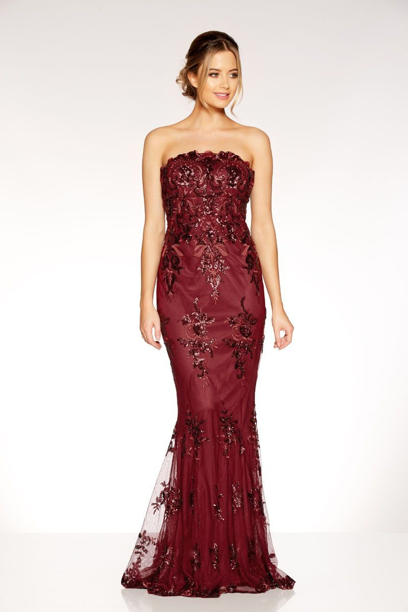 Berry sequin embroidered fishtail maxi dress quiz clothing k